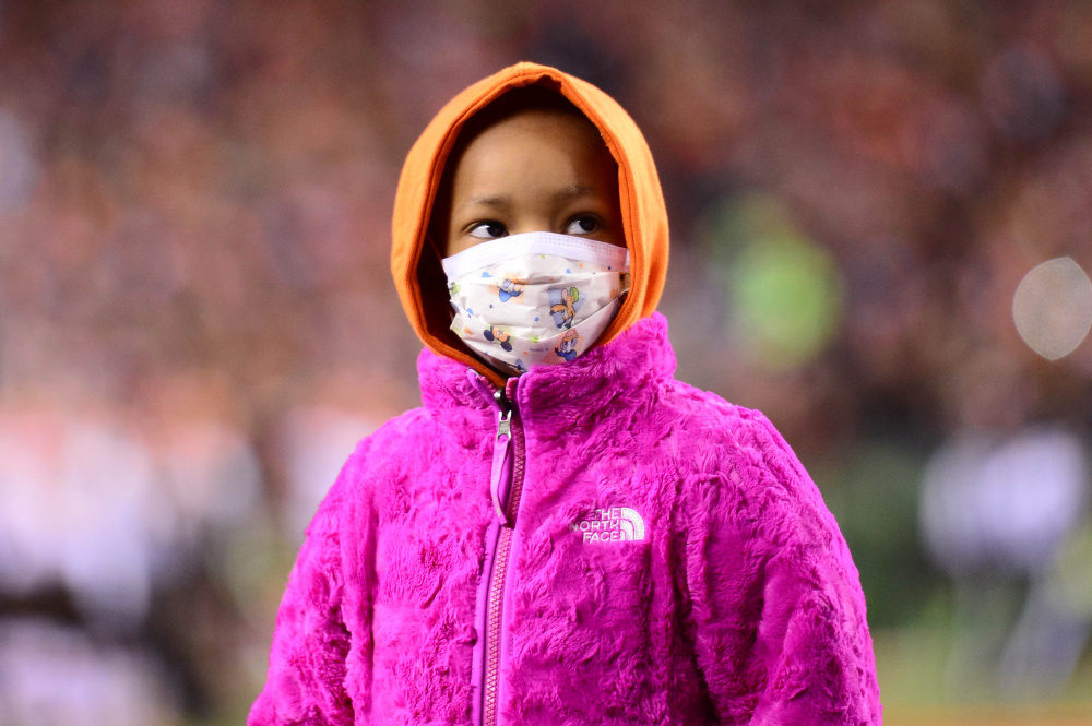 Nov 6, 2014; Cincinnati, OH, USA; Leah Still daughter of Cincinnati Bengals defensive tackle Devon Still (not pictured) during the first quarter against the Cleveland Browns at Paul Brown Stadium.