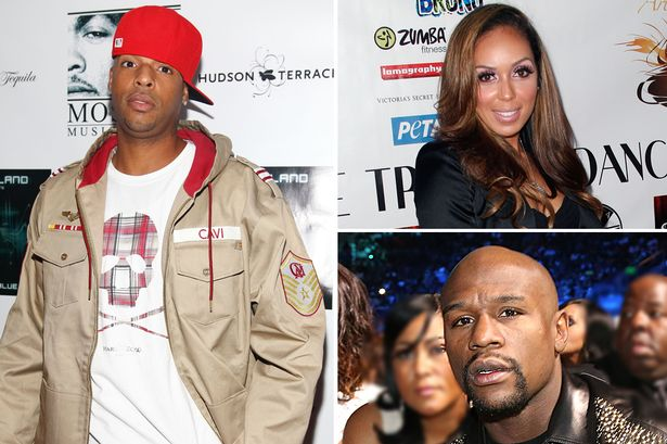 Earl Hayes (L), Stephanie Moseley and Floyd Mayweather