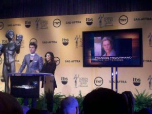 "Ansel Elgort (""Divergent"") and Eva Longoria host the 21st SAG Awards Nominations announcements. (Photo: Eunice Moseley)"