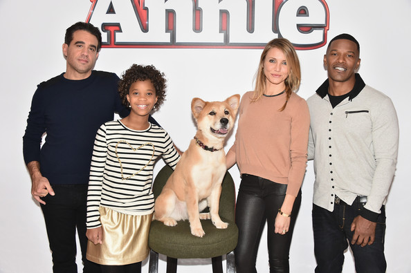 Bobby Cannavale, Quvenzhané Wallis, Cameron Diaz and Jamie Foxx attend the 'Annie' Cast Photo Call at Crosby Street Hotel on December 4, 2014 in New York City
