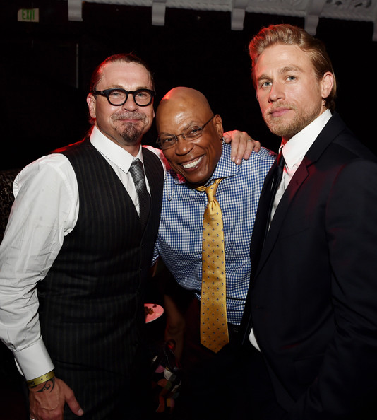 "(L-R) Creator/executive producer Kurt Sutter, executive producer/director Paris Barclay and actor Charlie Hunnam pose at the after party for the season 7 premiere screening of FX's ""Sons of Anarchy"" at the Avalon on September 6, 2014 in Los Angeles, California"
