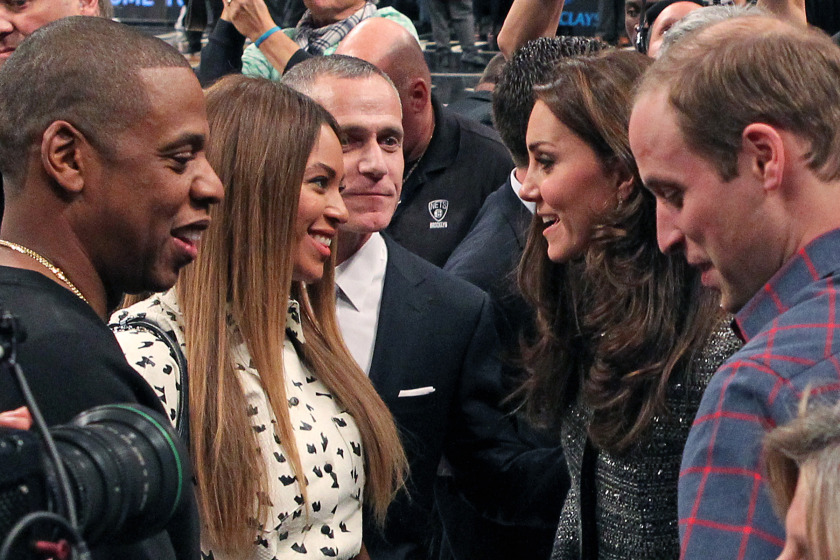 12/8/14 - Cleveland Cavaliers vs. Brooklyn Nets at the Barclays Center - Prince William and Dutchess of Cambridge Kate Middleton meet Jay-Z and Beyonce in between the 3rd and 4th quarter.