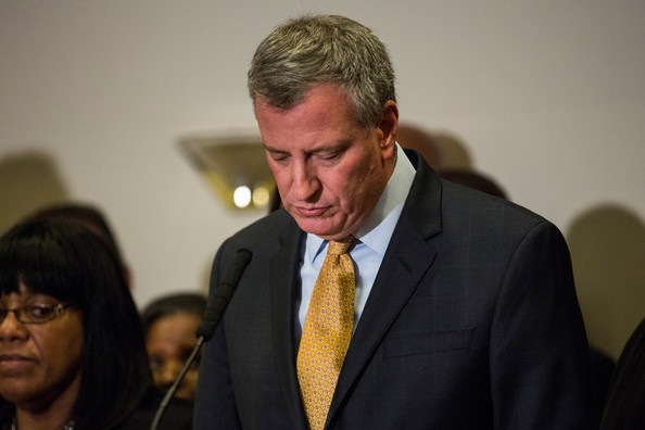 New York City Mayor Bill de Blasio speaks after a grand jury decided not to indict New York Police Officer Daniel Pantaleo in Eric Garner's death, on December 3, 2014 in the Staten Island borough of New York City. Garner died after being placed in a chokehold by Pantaleo in July. The altercation was captured in a widely viewed video