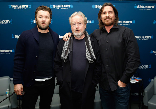 Actor Joel Edgerton, director Ridley Scott and actor Christian Bale visit the SiriusXM Studio on December 8, 2014 in New York City