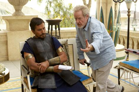 Exodus: Gods and Kings star Christian Bale (L) with director Ridley Scott