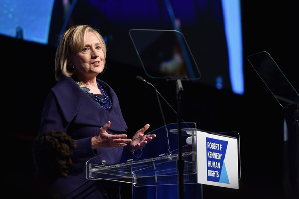Honoree Hillary Rodham Clinton speaks onstage at the RFK Ripple Of Hope Gala at Hilton Hotel Midtown on December 16, 2014 in New York City