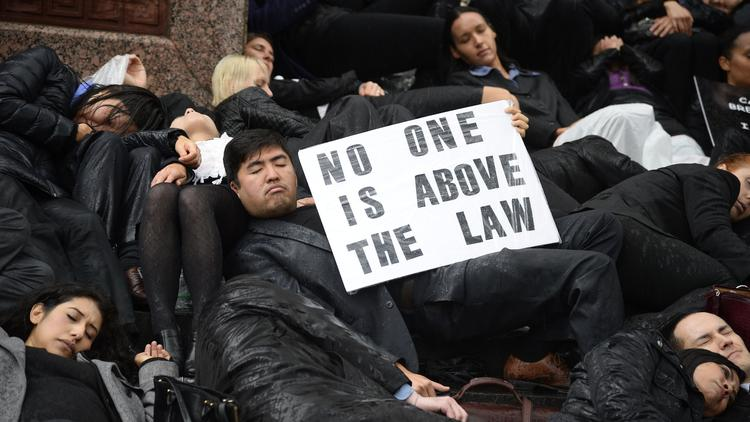 la lawyer die-in protest (in the rain)