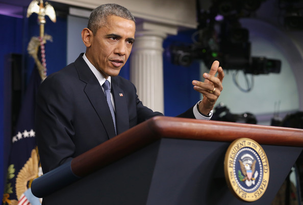 President Barack Obama speaks to members of the media during his last news conference of the year in the James Brady Press Briefing Room of the White House December 19, 2014 in Washington, DC.