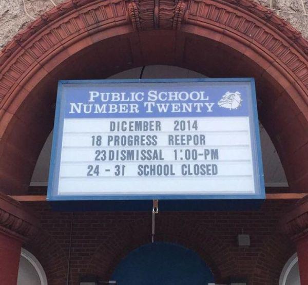 public school misspelled sign