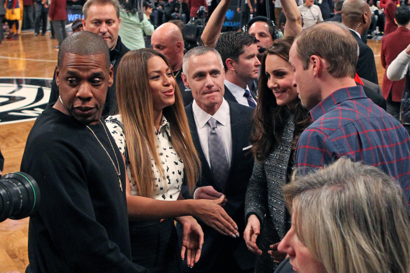 Cleveland Cavaliers vs. Brooklyn Nets at the Barclays Center - Prince William and Dutchess of Cambridge Kate Middleton meet Jay-Z and Beyonce in between the 3rd and 4th quarter.