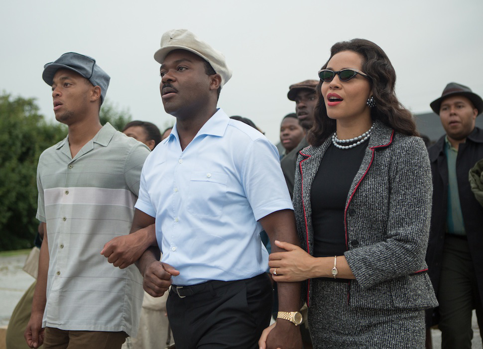 David Oyelowo plays Martin Luther King, Jr. (Middle) and Carmen Ejogo plays Coretta Scott King in SELMA, from Paramount Pictures and Pathé.