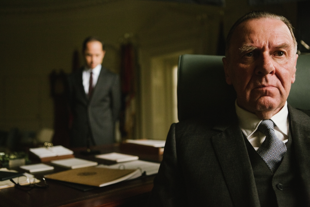 Left to right: Giovanni Ribisi plays Lee White and Tom Wilkinson plays President Lyndon B. Johnson in SELMA, from Paramount Pictures, Pathé, and Harpo Films