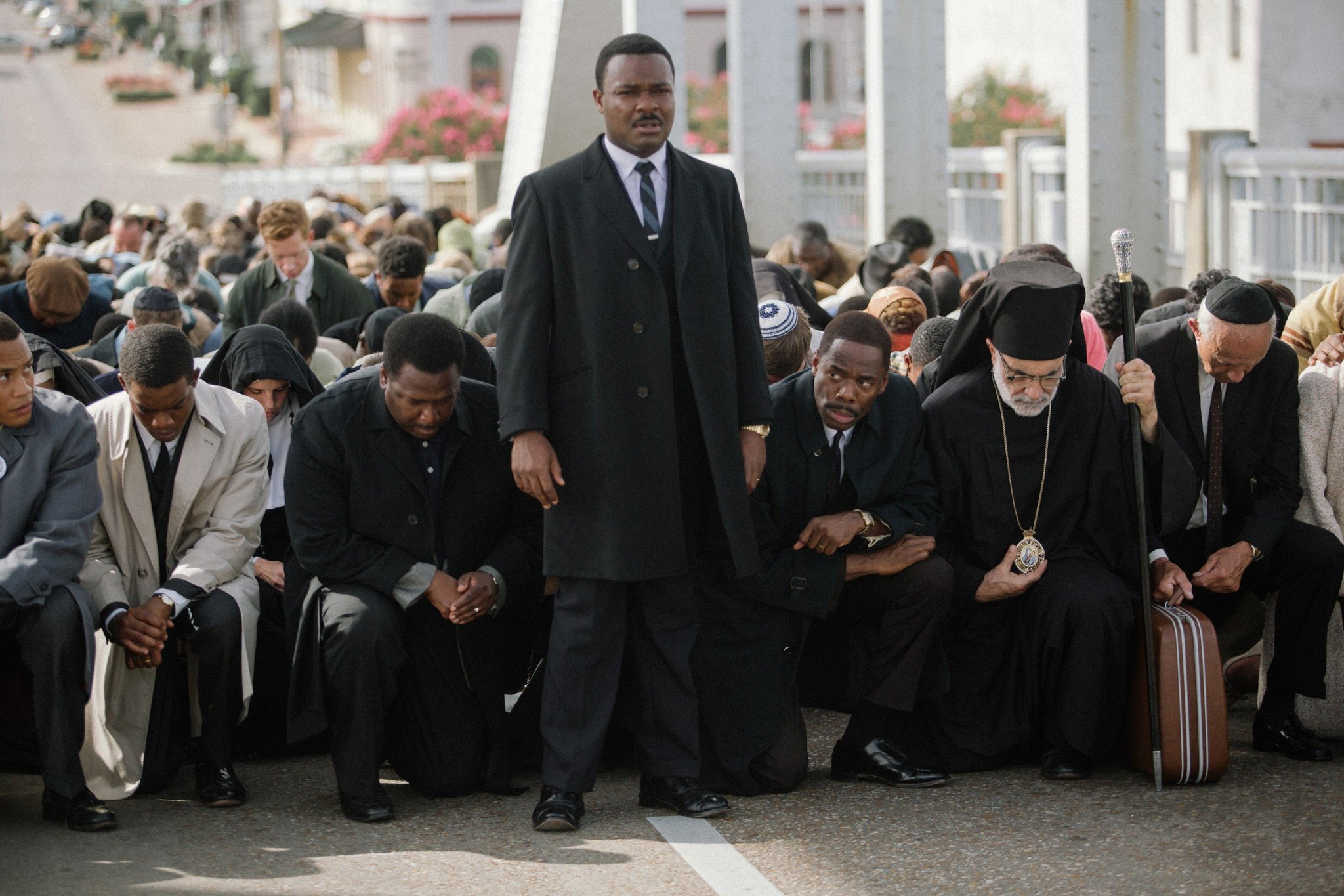 Center left to right: Wendell Pierce plays Rev. Hosea Williams, David Oyelowo plays Martin Luther King, Jr., and Colman Domingo plays Ralph Abernathy in the movie SELMA, from Paramount Pictures and PathZÿ.