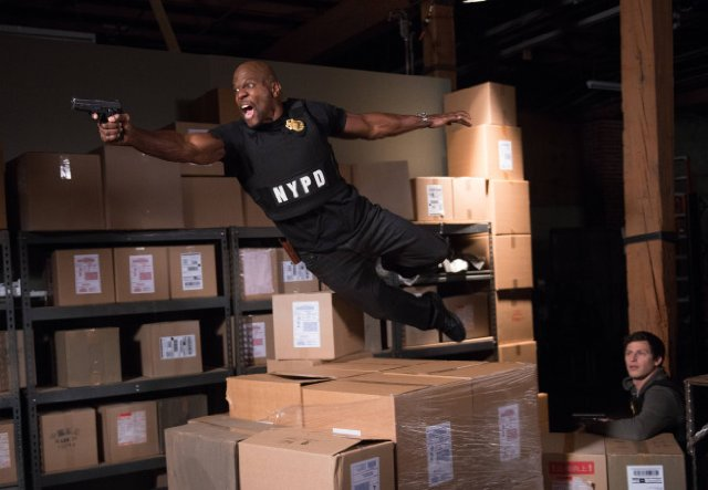 Still of Terry Crews and Andy Samberg in Brooklyn Nine-Nine