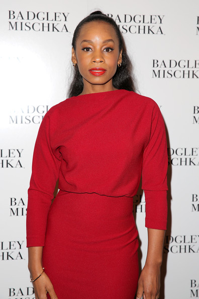 Anika Noni Rose backstage at the Badgley Mischka fashion show during Mercedes-Benz Fashion Week Spring 2015 at The Theatre at Lincoln Center on September 9, 2014 in New York City