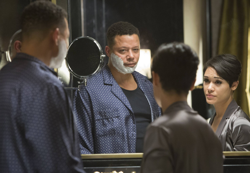 """Lucious (Terrence Howard, L) tells Anika (Grace Gealey, R) that he has ALS in the """"False Imposition"""" episode of EMPIRE"""