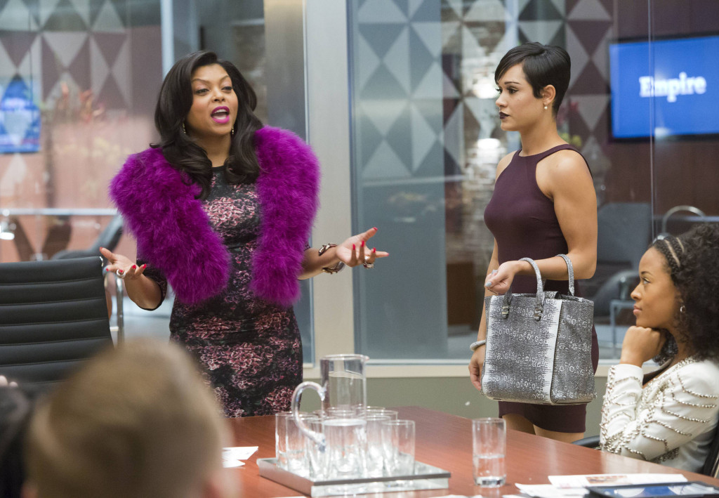 """EMPIRE: Cookie (Taraji P. Henson, L) takes over Anika's (Grace Gealey, R) meeting in the """"False Imposition"""" episode of EMPIRE airing Wednesday, Jan. 28 (9:00-10:00 PM ET/PT) on FOX."""