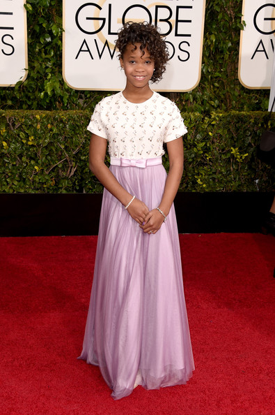 Actress Quvenzhane Wallis attends the 72nd Annual Golden Globe Awards at The Beverly Hilton Hotel on January 11, 2015 in Beverly Hills, California