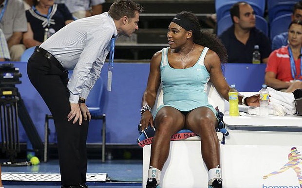 Serena Williams asks the umpire in Perth whether she is allowed to have a mid-match espresso