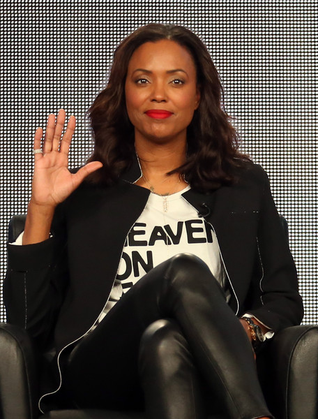 Actress Aisha Tyler speaks onstage during the 'Archer' panel discussion at the FX Networks portion of the Television Critics Association press tour at Langham Hotel on January 18, 2015 in Pasadena, California