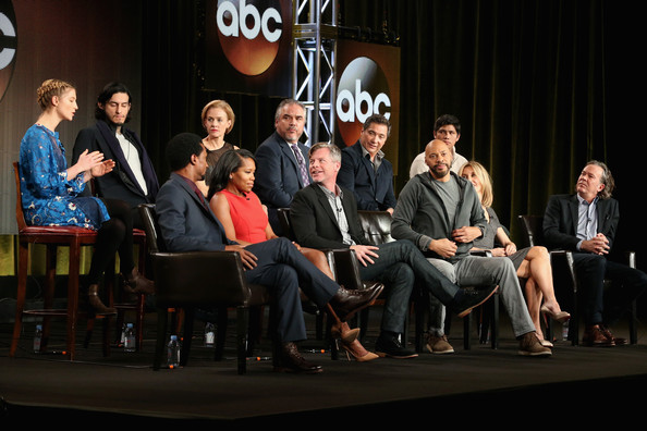 (Top L-R) Actors Caitlin Gerard, Richard Cabral, Penelope Ann Miller, W. Earl Brown, Benito Martinez, Johnny Ortiz, (Bottom L-R) Elvis Nolasco, Regina King, Executive Producer Michael J. McDonald, Creator/Executive Producer John Ridley, actors Felicity Huffman and Timothy Sutton speak onstage during the 'American Crime' panel at the Disney/ABC Television Group portion of the 2015 Winter Television Critics Association press tour at the Langham Hotel on January 14, 2015 in Pasadena, California