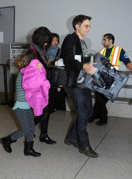 Halle Berry, Olivier Martinez, Nahla and Maceo are seen at LAX. (January 4, 2015