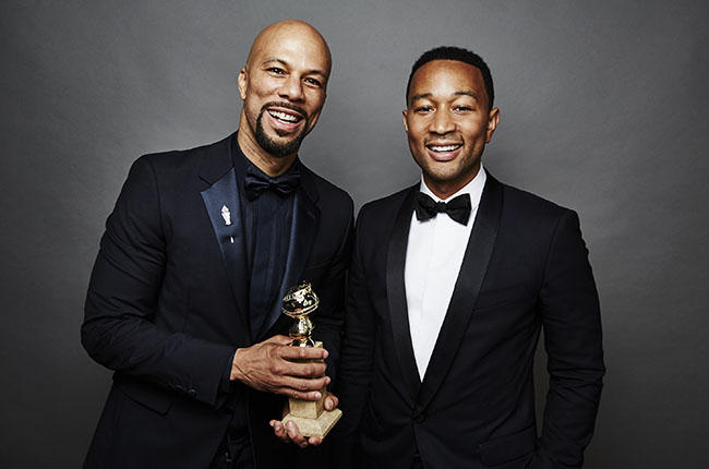 Common and John Legend  pose for a portrait for People.com during the 72nd Annual Golden Globe Awards on January 11, 2015 in Beverly Hills