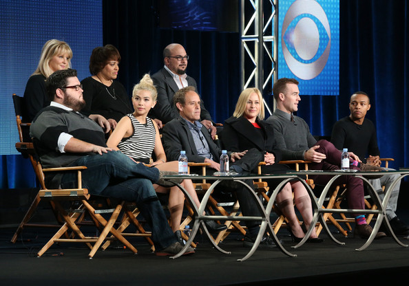 "(L-R, Front Row) Actors Charley Koontz, Hayley Kiyoko, Peter MacNicol, Patricia Arquette, James Van Der Beek and Shad Moss, (l-r back row) producer/cyber psychologist Mary Aiken, executive producer Pam Veasey and executive producer Anthony E. Zuiker speak onstage during the 'CSI: Cyber"" panel as part of the CBS/Showtime 2015 Winter Television Critics Association press tour at the Langham Huntington Hotel & Spa on January 12, 2015 in Pasadena, California."