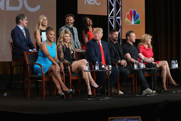 (L-R top row) Geraldo Rivera, TV personality Kate Gosselin, executive producer Mark Burnett and actress Kenya Moore. (L-R bottom row) Actress Vivica A. Fox, TV personality Brandi Glanville, executive producer/host Donald Trump, actor Lorenzo Lamas, actor Ian Ziering and Tv personality Leeza Gibbons speak onstage during the 'The Celebrity Apprentice' panel discussion at the NBC/Universal portion of the 2015 Winter TCA Tour at the Langham Hotel on January 16, 2015 in Pasadena, California