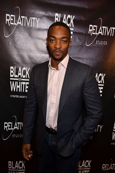 "Actor Anthony Mackie attends ""Black or White"" red carpet screening at Regal Atlantic Station on January 22, 2015 in Atlanta, Georgia"