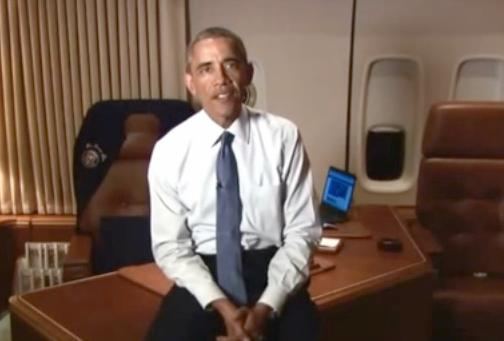 obama on air force 1 - free community college