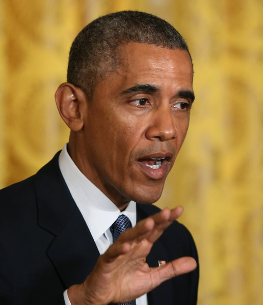 President Barack Obama speaks during a news conference with British Prime Minister David Cameron in the East Room of the White House January 16, 2015 in Washington, DC.