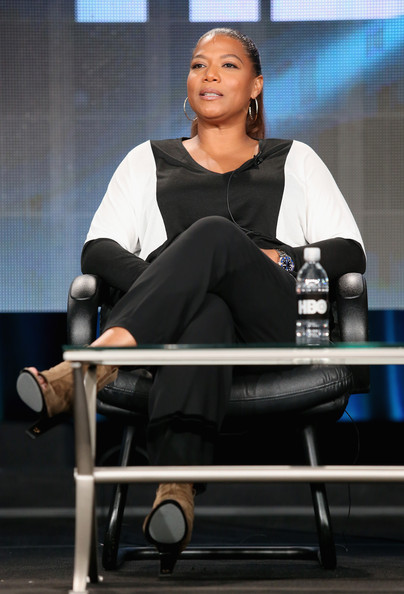Actress/Executive Producer Queen Latifah speaks onstage during the 'Bessie' panel at the HBO portion of the 2015 Winter Television Critics Association press tour at the Langham Hotel on January 8, 2015 in Pasadena, California