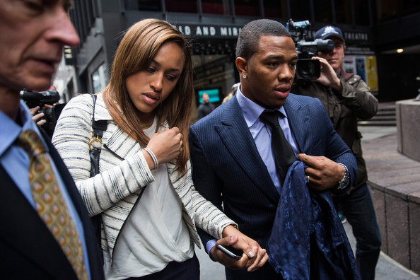 Suspended Baltimore Ravens football player Ray Rice (R) and his wife Janay Palmer arrive for a hearing on November 5, 2014 in New York City