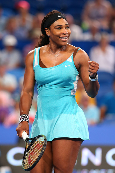 Serena Williams of the United States celebrates winning a point in her match against Flavia Pennetta of Italy during day two of the 2015 Hopman Cup at Perth Arena on January 5, 2015 in Perth, Australia.