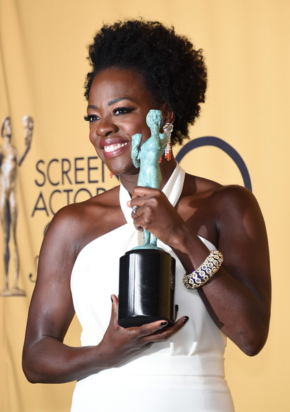 Actress Viola Davis, winner of Outstanding Performance by a Female Actor in a Drama Series for 'How to Get Away with Murder,' poses in the press room at the 21st Annual Screen Actors Guild Awards at The Shrine Auditorium on January 25, 2015 in Los Angeles, California.