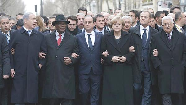 world leaders at paris unity rally-march