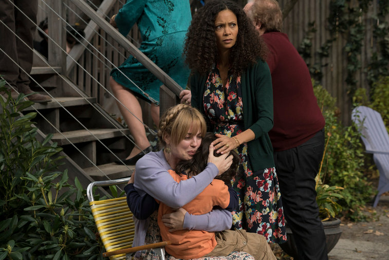"Pictured: (l-r) Dylan Schombing as Hugo, Melissa George as Rosie, Thandie Newton as Aisha in NBC's ""The Slap"""