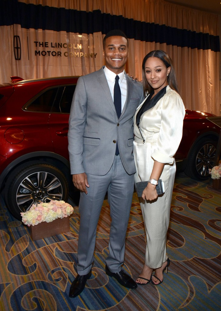 Tia Mowry and husband Cory Hardrict with the Lincoln MKZ at ESSENCE Black Women In Hollywood