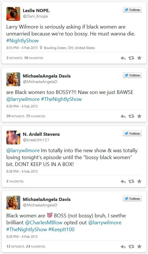 Larry Wilmore 'bossy' black women reaction tweets