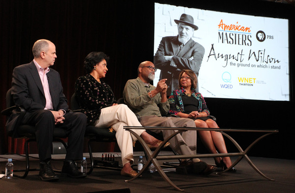 "(L-R) Series executive producer Michael Kantor, actress Phylicia Rashad, filmmaker Sam Pollard and executive producer Darryl Ford Williams speak onstage during the 'AMERICAN MASTERS ""August Wilson: The Ground on Which I Stand""' panel discussion at the PBS Network portion of the Television Critics Association press tour at Langham Hotel on January 20, 2015 in Pasadena, California."