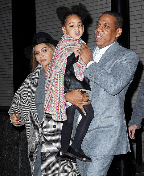 Beyonce and Jay Z carried their daughter Blue Ivy out of the Annie NYC premiere on Sunday, Dec. 7.