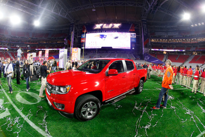 The Chevrolet MVP truck is seen on the field at the end of Super Bowl XLIX at University of Phoenix Stadium on February 1, 2015 in Glendale, Arizona.