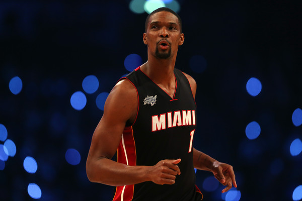 Chris Bosh #1 of the Miami Heat and the Eastern Conference competes during the Degree Shooting Stars Competition as part of the 2015 NBA Allstar Weekend at Barclays Center on February 14, 2015 in the Brooklyn borough of New York City