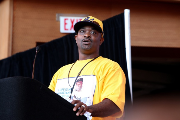 Darold Butler, manager of the Jackie Robinson West baseball team speaks during the team's United States World Series Championship Rally at Millennium Park on August 27, 2014 in Chicago, Illinois
