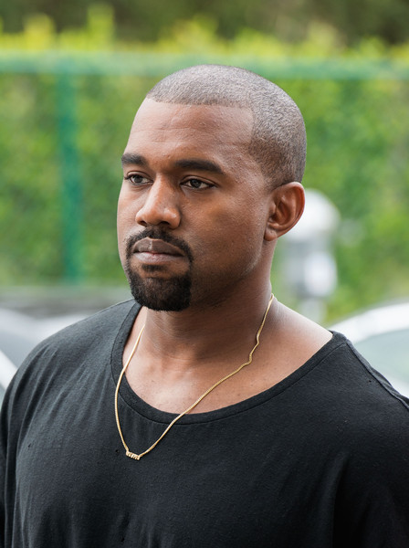 Recording artist Kanye West arrives at the Roc Nation Pre-GRAMMY Brunch on February 7, 2015 in Beverly Hills, California