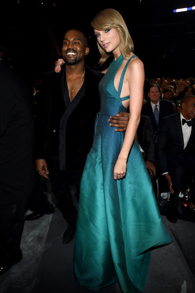 Recording Artists Kanye West and Taylor Swift attend The 57th Annual GRAMMY Awards at the STAPLES Center on February 8, 2015 in Los Angeles, California