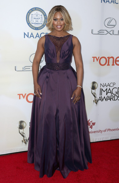 Actress Laverne Cox attends the 46th NAACP Image Awards presented by TV One at Pasadena Civic Auditorium on February 6, 2015 in Pasadena, California