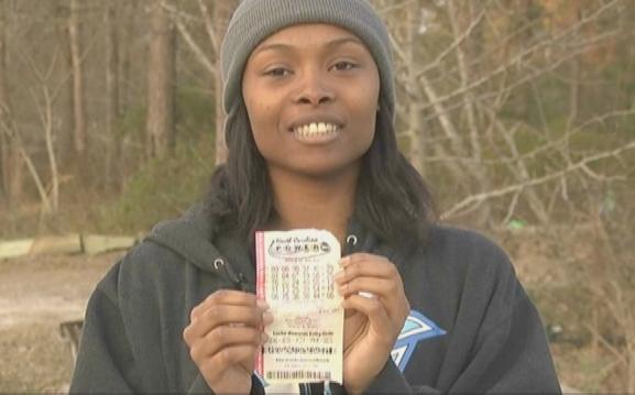 marie holmes (with powerball ticket)
