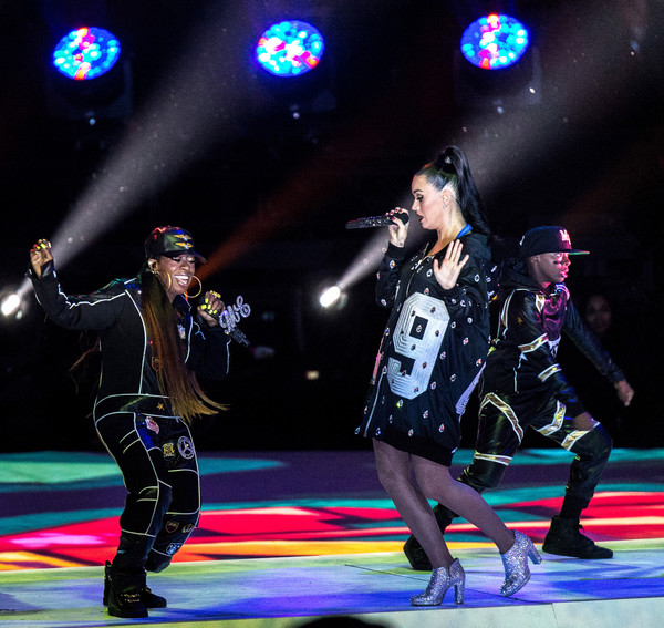 Recording artists Katy Perry and Missy Elliott perform onstage during the Pepsi Super Bowl XLIX Halftime Show at University of Phoenix Stadium on February 1, 2015 in Glendale, Arizona